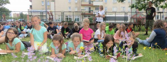 Wspólne czytanie na trawie