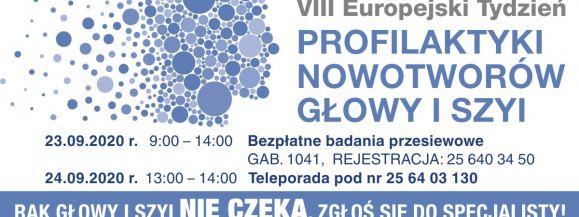 VIII Europejski Tygodzień Profilaktyki Nowotworów Głowy i Szyi